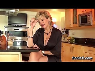 Cheating english milf lady sonia shows off her giant breasts