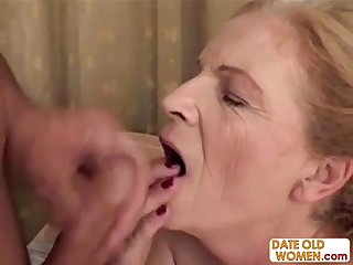 Blonde old grandma gets facial