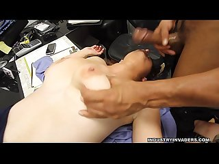 Big Titty College Teen gives blowjob for a job
