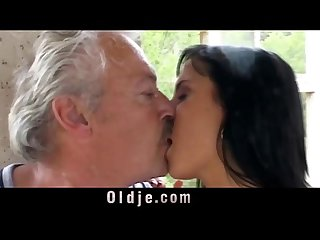 Old man feeds dirty Nikky and Renata with his old cum