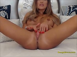 Pretty Busty Brunette In Solo Masturbation
