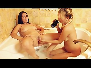 Bathtub Lesbian Sex With Two Natural Hotties