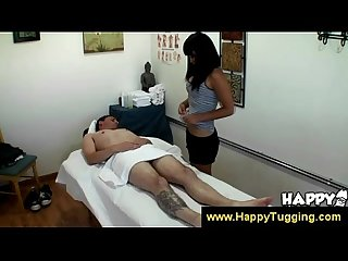 Asian masseuse makes clients dick erect