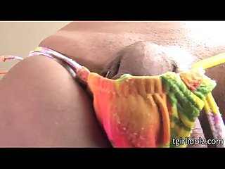 Tattooed tranny izabela pops out her big boobs and beefy cock then gives bj