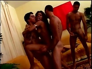 Ebony triple penetration gangbang