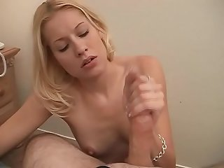 Young horny bitch is giving him a hot handjob