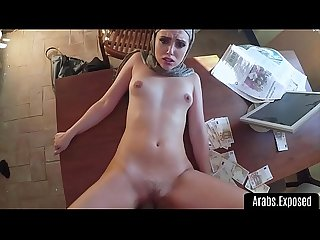 Hot amateur arab struggles to take cock