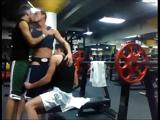 3 way sucking and fucking at the gym
