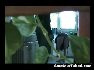 Wife sucks the plumber on cam