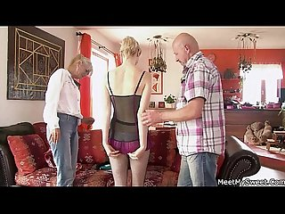 She rides her bf s dad cock and mom helps