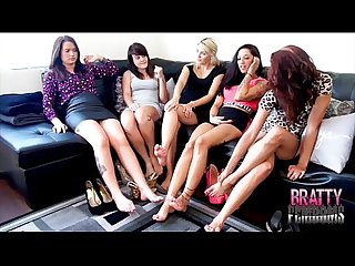 5 brats make a guy worship their feet