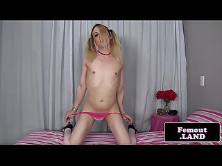 Transitioning femboy jerks and cums in mouth