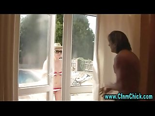 Sunbathing cfnm babes catch guy