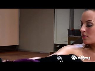 Big boob milf oils up her tittys for a good fucking