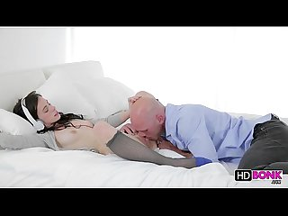 Sweet brunette pussy gets jammeded