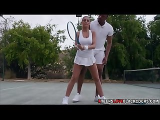 Cute teenie chick fucked by the BBC of her tennis coach
