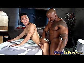 Hot gay sex with Asian jock and buff black stud and his BBC