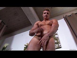 Straight euro muscle hunk soldier jerking his big dick