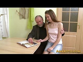 Old man young girl hd