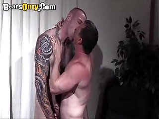 Tattooed daddy cock feeding frenzy