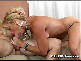 Young cock on mature horny mouth