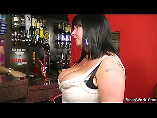 He fucks busty barmaid from behind for job