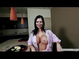 Hot momma Jasmin Jae cant hides her perfect big tits in her robe so her horny stepson whips his..
