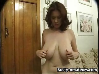 Busty kathryn striptease and masturbation