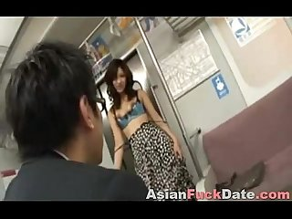 Asian whore gives blowjob on public bus