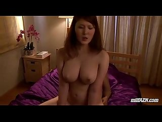 Busty milf riding on her husband cock fucked in doggy on the bed in the bedroom