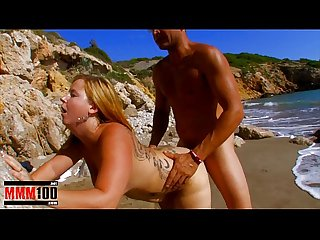 Young little fat bitch gets fucked hard at the beach