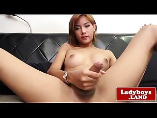 Busty ladyboy jerking until cumshot