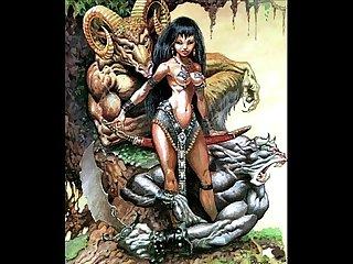 Extreme bizarre fantasy sci fi comic art