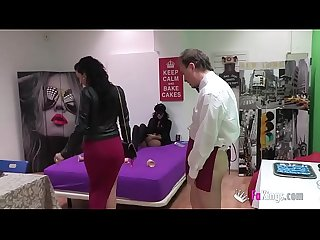 A submissive tattoo artist gets drilled by a dude while a hot skinny latina watches