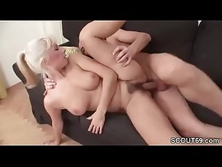 Young man caught step mom masturbate and seduce to fuck