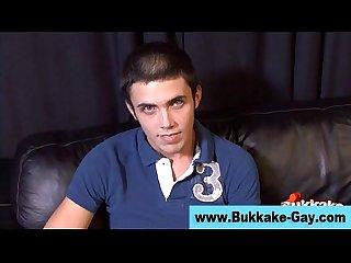 Gay twink bukkake gangbang facial