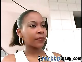Pregnant black chick filled with two white boners