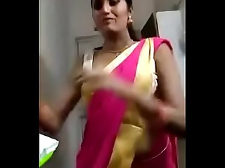 Sexy indian hot bhabi riya changing saree big boobs black bra dont miss