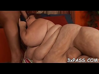 Large fatty woman is feeling corpulent dick in mouth and snatch