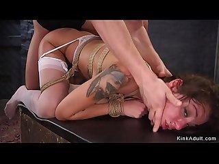 Deep throat slut anal banged in bondage