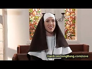 Nun double penetration fucked in Church