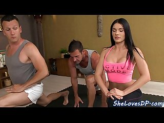Babe threeway fucked after yoga