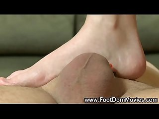 Fetish foot mistress makes him cum