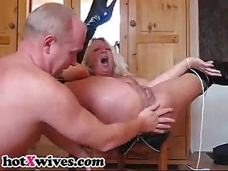 Wife gets ass fisted hard and squirts