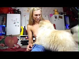 Teen Plays On Cam her Dog joins *** Girls4Cock.Com