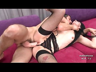 Small titted amateur french slut in black lingerie and stockings banged hard