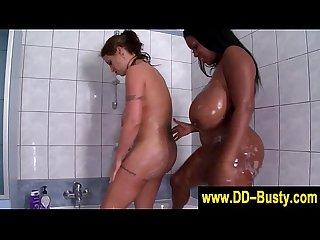 Massive mammary babes showering