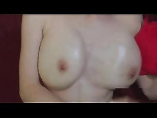 brunette beauty with perfect big tits gives masterful hand job