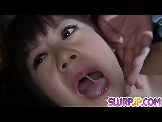 Perfect POV blowjob with cum swalow along Shino Nakamura