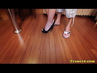 Gorgeous ladyboy analfucked doggystyle